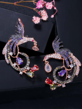 Copper WithCubic Zirconia Exaggerated Colored phoenix  Cluster Earrings