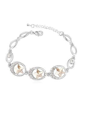 Fashion Hollow Oval Star Swarovski Crystals Alloy Bracelet