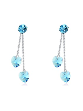 Fashion Heart Cubic Swarovski Crystals Alloy Drop Earrings