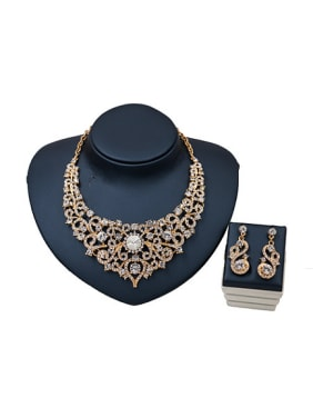 2018 2018 2018 Cubic Glass Rhinestones Two Pieces Jewelry Set