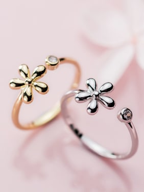 925 Sterling Silver With Silver Plated Simplistic Flower Free Size Rings