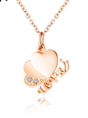 Titanium With Cubic Zirconia Personality Heart Letter Necklaces