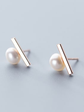 925 Sterling Silver With Artificial Pearl  Simplistic Fringe Stud Earrings
