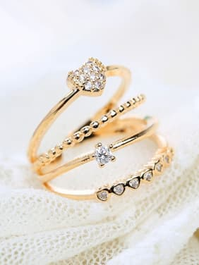 Alloy With Gold Plated Fashion sweet heart  Cubic Zirconia Stacking Rings