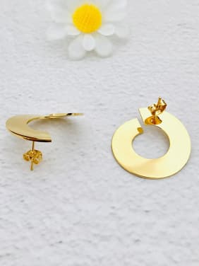 Copper With 18k Gold Plated Trendy Round Stud Earrings