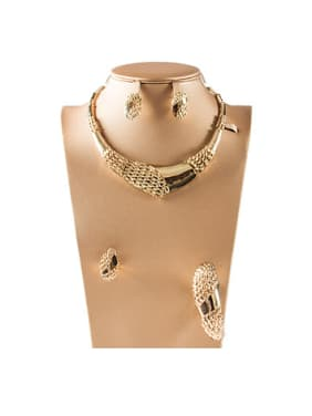 Grid shaped Colorfast Four Pieces Jewelry Set