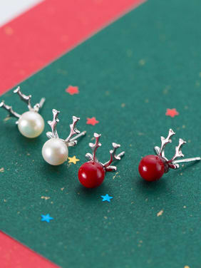 925 Sterling Silver With Imitation Pearl Trendy Antlers Stud Earrings