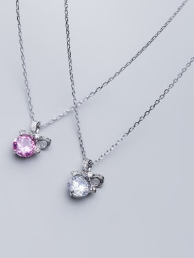 925 Sterling Silver With Silver Plated Simplistic Bowknot Necklaces