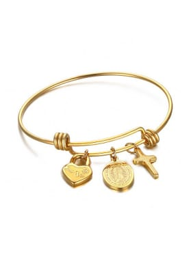 Religion Style Gold Plated Tag Shaped Titanium Bangle