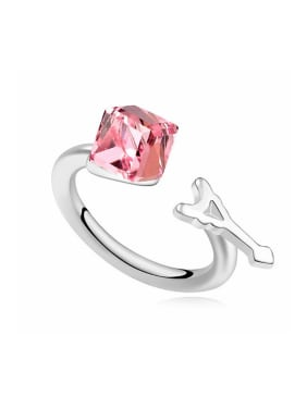 Personalized Cubic Swarovski Crystal-accented Opening Alloy Ring