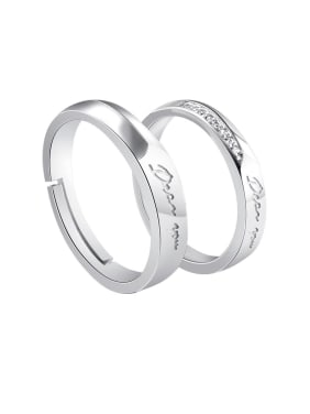 925 Sterling Silver With Cubic Zirconia Simplistic Monogrammed Lovers Free Size  Rings