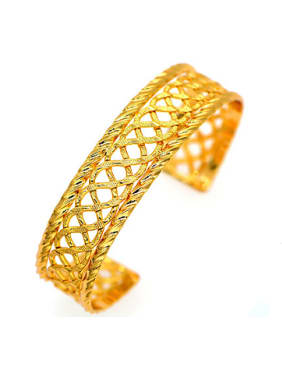 18K Gold Plated Woven Opening Bangle
