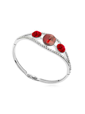 Simple Three Cubic Swarovski Crystals Alloy Bangle
