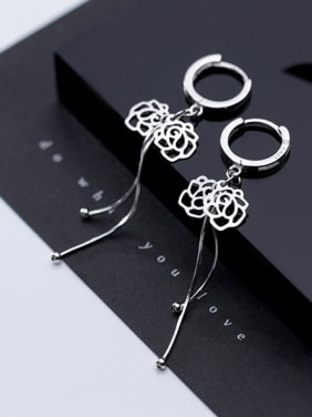 925 Sterling Silver With Fashion Hollow Flower Beads Tassel Clip On Earrings