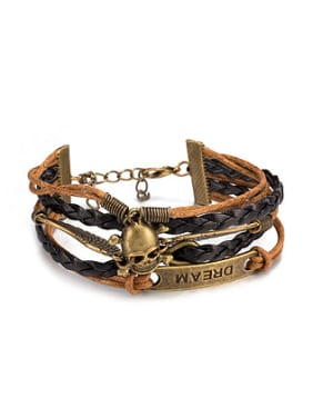 Retro Skull Wings Artificial Leather Ropes Bracelet