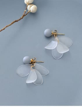 Sterling Silver Grey ball with sweet white petal Earrings
