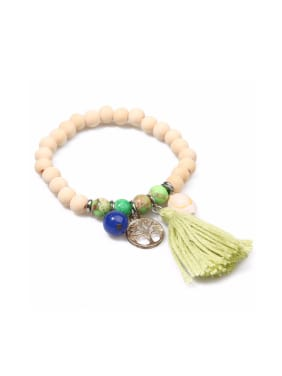 Wooded Beads Creative Tassel Accessories Bracelet