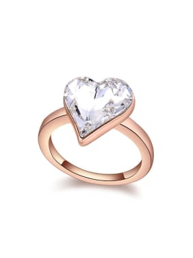 Simple Heart Swarovski Crystal Rose Gold Plated Alloy Ring