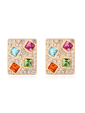 Personalized Champagne Gold Plated Swarovski Crystals-covered Stud Earrings