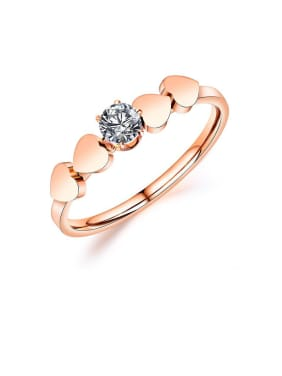 Stainless Steel With Rose Gold Plated Cute Heart Band Rings