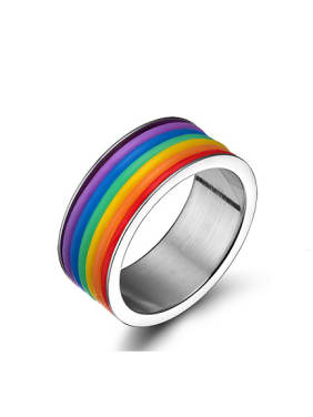Multi-color Geometric Shaped Glue Stainless Steel Ring