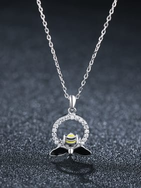 925 Sterling Silver With Artificial zircon  Cute Little Bee Necklaces
