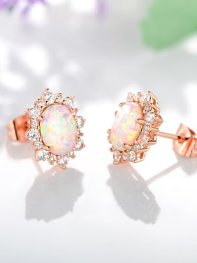 925 Sterling Silver With Rose Gold Plated Fashion Oval Stud Earrings