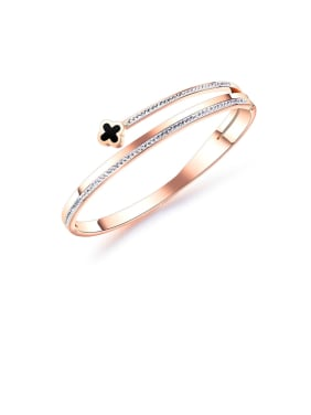 Stainless Steel With Rose Gold Plated Simplistic Flower Bangles