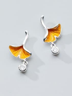 "Pure silver zircon golden yellow ""memory of autumn"" Ginkgo Leaf Earrings"