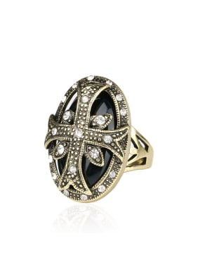 Bohemia Retro Cross Resin stone Bronze Plated Alloy Ring