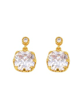 Simple Zircon Gold Plated Stud Earrings
