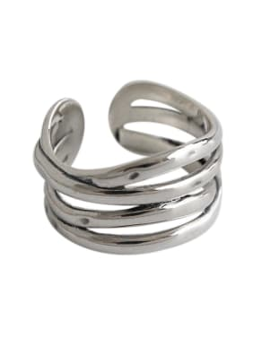 925 Sterling Silver With Antique Silver Plated Multi-layer texture free size Rings
