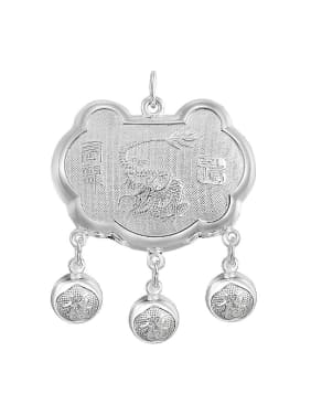 Ethnic style 999 Silver Zodiac Dragon Children Bells Longevity Lock Pendant