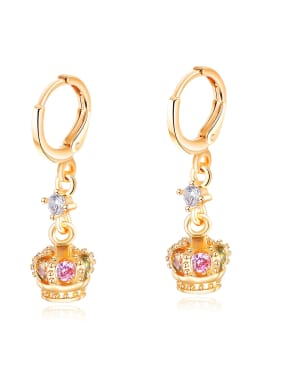 Copper With Gold Plated Personality Crown Earrings