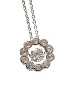 Fashion Movable Cubic Zircon Silver Necklace
