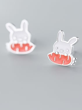 925 Sterling Silver With Enamel Cute Rabbitl Stud Earrings