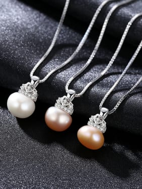 Sterling Silver AAA zircon 90-95 freshwater pearl necklace