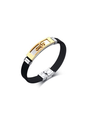 Trendy Gold Plated Cross Shaped Silicon Bangle