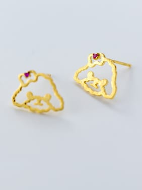 Lovely Gold Plated Red Zircon S925 Silver Stud Earrings