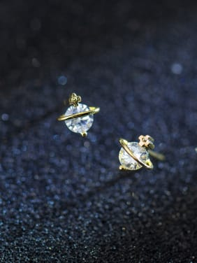 Sterling silver Mini zircon gold star stud earrings (imagine starry sky)