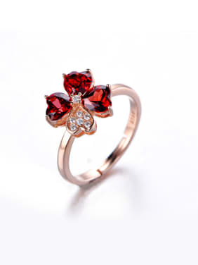 Fashion Ruby Gemstones Flowery Ring