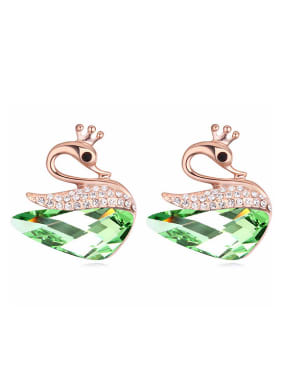 Exquisite Swarovski Crystals Swan Rose Gold Plated Stud Earrings