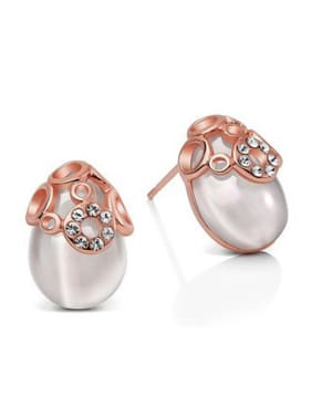 Exquisite Egg-shape Stones Stud Earrings