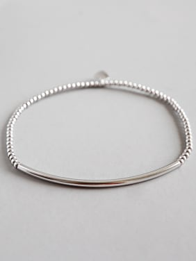 925 Sterling Silver With Platinum Plated Simplistic Beads tube Bracelets
