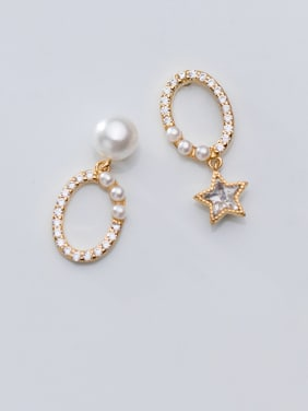 925 Sterling Silver With Gold Plated Personality Star Drop Earrings