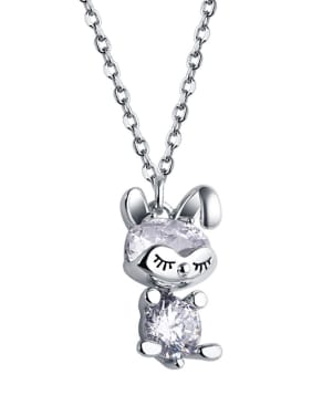 925 Sterling Silver WithCubic Zirconia Cute Animal rabbit Necklaces
