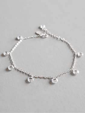 925 Sterling Silver With Silver Plated Simplistic Cross chain Anklets