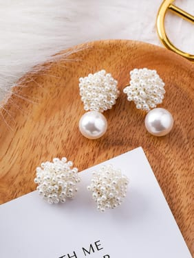 Alloy With White Gold Plated Trendy Charm Beads Stud Earrings