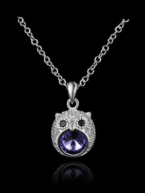 Fashion Cubic Zirconias-covered Owl 925 Sterling Silver Pendant