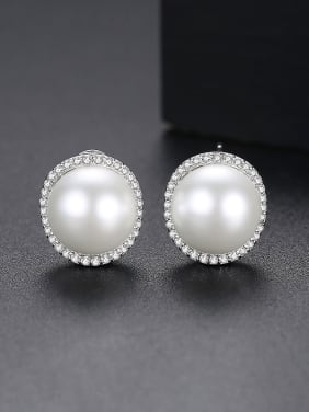 Copper With Platinum Plated class Imitation Pearl Stud Earrings